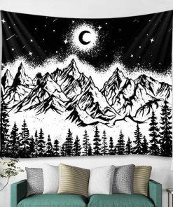 Schwarzer und weißer Wandteppich
